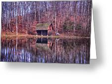 Early Winter At The Boat House Greeting Card by Daphne Sampson