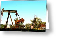 East Texas Oil Field Greeting Card by Kathy  White