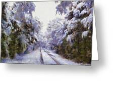 East Texas Snow Day Greeting Card by Lorri Crossno