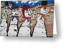 Easter Island Snow Men Greeting Card by Jeffrey Koss