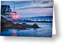 Eastern Yacht club starts the Marblehead harbor illumination off Greeting Card by Jeff Folger