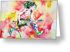 Eddie Van Halen Playing And Jumping Watercolor Portrait Greeting Card by Fabrizio Cassetta