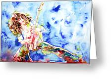 Eddie Van Halen Playing The Guitar.1 Watercolor Portrait Greeting Card by Fabrizio Cassetta