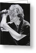Eddie Vedder Black And White Greeting Card by Joshua Morton