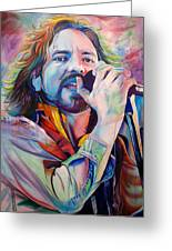 Eddie Vedder In Pink And Blue Greeting Card by Joshua Morton