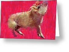 Edgar Allen Pig Greeting Card by Carl Rolfe