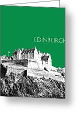 Edinburgh Skyline Edinburgh Castle - Forest Green Greeting Card by DB Artist