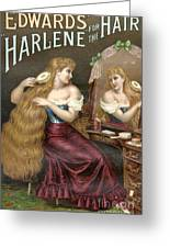 Edwards Harlene For Hair 1890s Uk Hair Greeting Card by The Advertising Archives