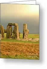 Eerie Stonehenge 3 Greeting Card by Deborah Smolinske