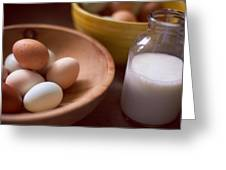 Eggs Bowls And Milk Greeting Card by Toni Hopper