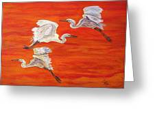 Egrets In Flight Greeting Card by Ella Kaye Dickey