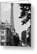 Eiffel Tower Black And White 4 Greeting Card by Andrew Fare