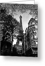 Eiffel Tower Black And White Greeting Card by Andrew Fare