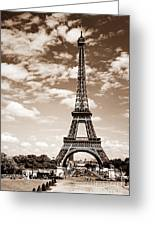 Eiffel Tower In Sepia Greeting Card by Elena Elisseeva