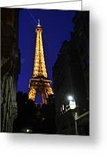 Eiffel Tower Paris France At Night Greeting Card by Patricia Awapara