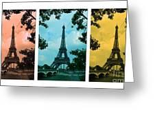 Eiffel Tower Paris France Trio Greeting Card by Patricia Awapara