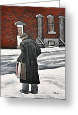 Elderly Gentleman  In Pointe St. Charles Greeting Card by Reb Frost