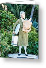 Elderly Shopper Statue Key West Greeting Card by Ian Monk