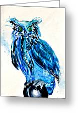Electric Blue Owl Greeting Card by Beverley Harper Tinsley