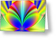 Electric Rainbow Orb Fractal Greeting Card by Rose Santuci-Sofranko