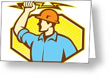 Electrician Wielding Lightning Bolt Greeting Card by Aloysius Patrimonio