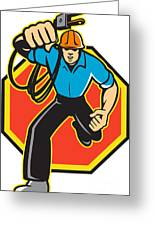 Electrician Worker Running Electrical Plug Greeting Card by Aloysius Patrimonio