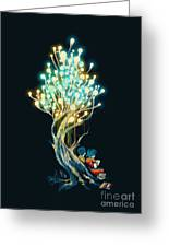 Electricitree Greeting Card by Budi Kwan