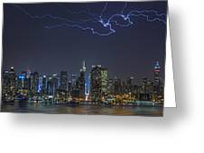 Electrifying New York City Greeting Card by Susan Candelario