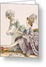 Elegant Lady Having Her Feet Washed Greeting Card by Pierre Thomas Le Clerc