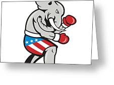 Elephant Mascot Boxer Boxing Side Cartoon Greeting Card by Aloysius Patrimonio