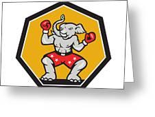 Elephant Mascot Boxer Cartoon Greeting Card by Aloysius Patrimonio