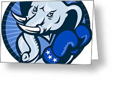 Elephant With Boxing Gloves Democrat Mascot Greeting Card by Aloysius Patrimonio