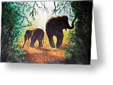 Elephants At Night Greeting Card by Saranya Haridasan