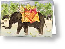 Elephants With Bananas Greeting Card by EB Watts