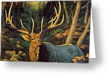 Elk Painting - Autumn Majesty Greeting Card by Crista Forest