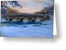 Elm Street Bridge on a Winter's Morn Greeting Card by Jack Skinner