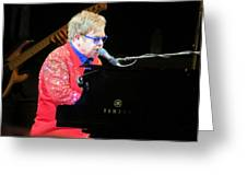 Elton John Live Greeting Card by Aaron Martens