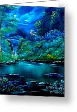Emerald Falls 2 Greeting Card by Cynthia Adams