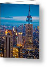 Empire State Blue Night Greeting Card by Inge Johnsson