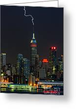 Empire State Building Lightning Strike I Greeting Card by Clarence Holmes