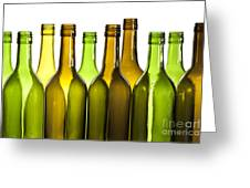 Empty Glass Wine Bottles Greeting Card by Colin and Linda McKie