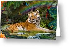 Enchaned Tigress Greeting Card by Alixandra Mullins