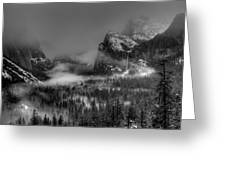 Enchanted Valley in Black and White Greeting Card by Bill Gallagher