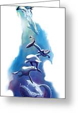 endangered sea life Water colour giclee print with eye and sea mammals Ocean Tears Greeting Card by Sassan Filsoof