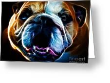 English Bulldog - Electric Greeting Card by Wingsdomain Art and Photography