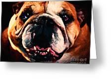 English Bulldog - Painterly Greeting Card by Wingsdomain Art and Photography