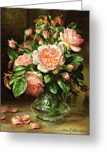 English Elegance Roses In A Glass Greeting Card by Albert Williams