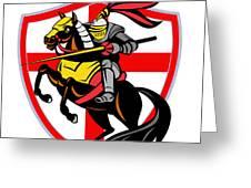 English Knight Lance England Flag Shield Retro Greeting Card by Aloysius Patrimonio