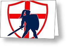 English Knight Silhouette England Flag Retro Greeting Card by Aloysius Patrimonio