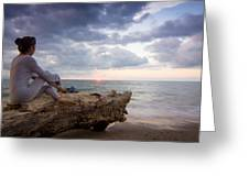 Enjoing The Sunset Greeting Card by Aged Pixel